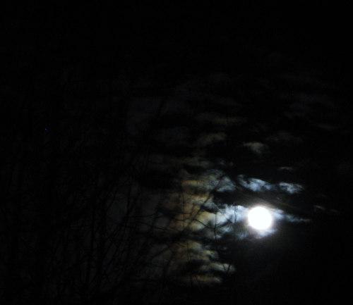 Lunar light shines on sky