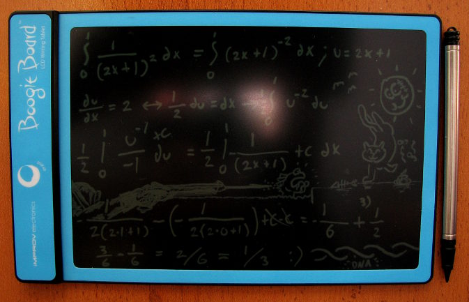 Boogie Board LCD writing tablet (blue) with some definite integral calculations and drawings on it
