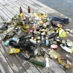 A big pile of garbage found underwater