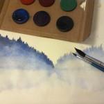 A bluish watercolor painting from a sight over a lake I drew to my mother with her own birthday gift. Sinertävä järvimaisema äidin synttärilahjaksi ostetuilla vesiväreillä piirrettynä.