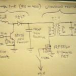 Schematic for super simple ultrasound resonator driving circuit. Tosi yksinkertainen kytkentäkaavio ultraääniresonaatiota varten.