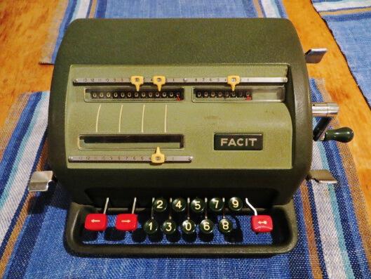 old vintage mechanical facit calculator