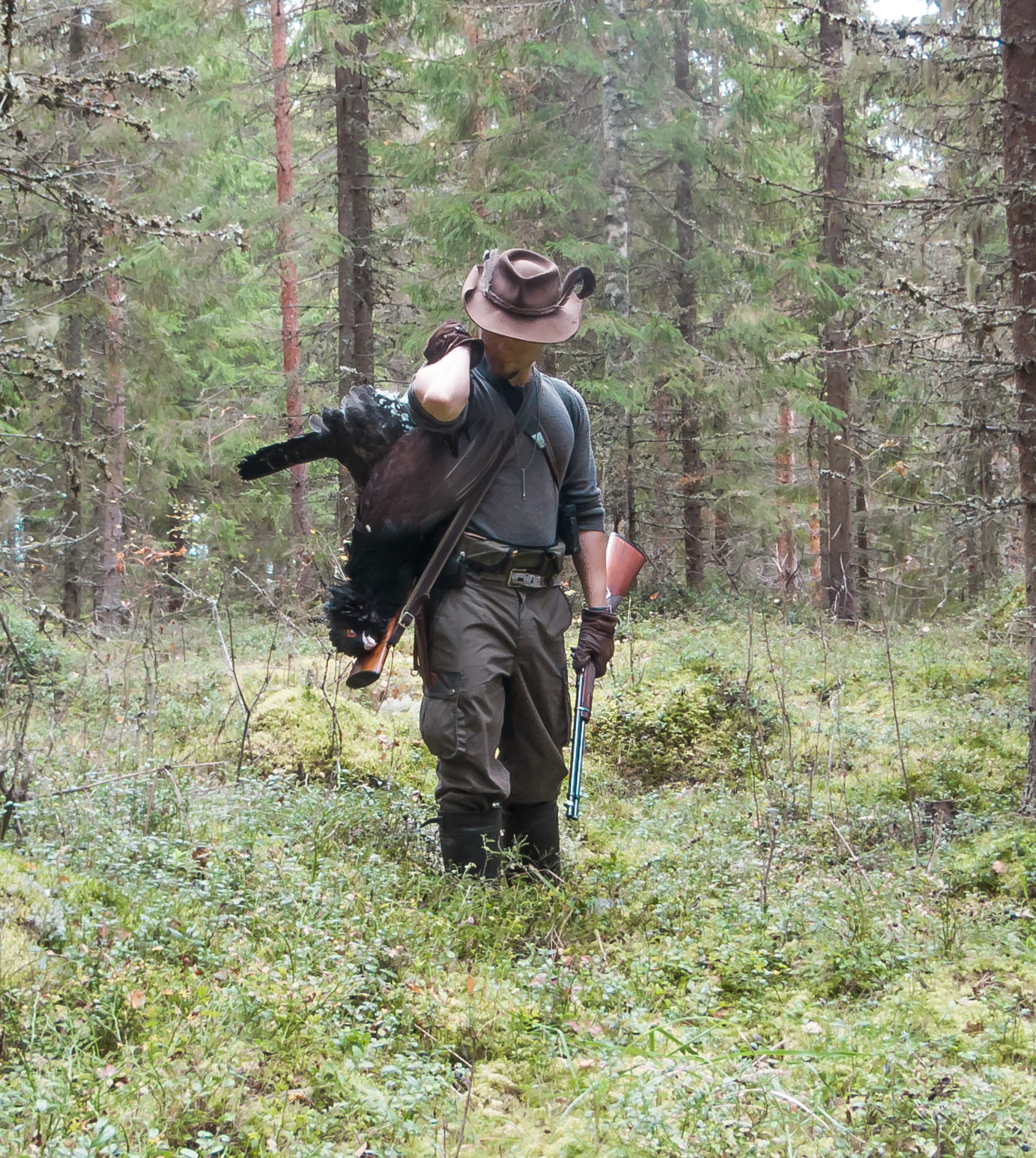 Me posing with my capercaillie catch. Metsosaalis.